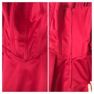 Mary's Bridal Dresses - Red Satin Plus Size Corset Top Formal Dress - 16